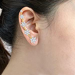 Sukkhi Glimmery Gold and Rhodium Plated Cubic Zirconia Stone Studded Ear cuff