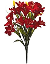 Fourwalls Beautiful Artificial Lily Bunch (60 cm, Red)