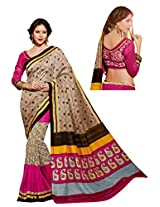 Brijraj Beige Multi Bhagalpuri silk Beautifull Printed Saree Wih Unstitch Blouse
