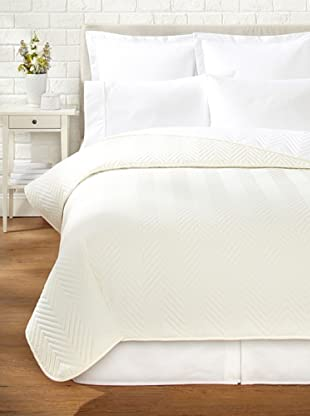 Percale Quilted Coverlet (Ivory)