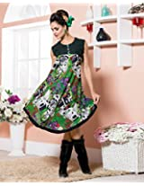 Cotton Embroidered Green Frock Dress - 2007-B