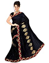 Chinco Embroidered Saree With Blouse Piece (503-F_Black)