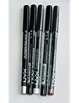 NYX Eye/eyebrow Pencil Set of Five in Black, Black Brown, Light Brown, Silver, White Pearl .04