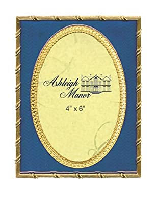 Ashleigh Manor Hand-Painted Golden Background Oval Frame (Deep Cobalt)