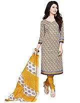 Salwar Studio Yellow & Blue & White Cotton Dress Material with Dupatta SHIMAYAA-1213