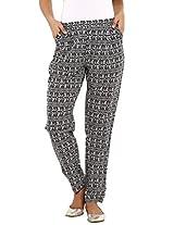 Aaboli Black Cambric Regular Fit Fashion Bottoms