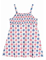 Fabindia Smocked Summer Dress - White/Blue (2 - 6 Years)