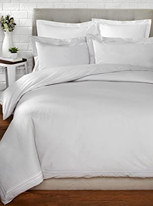 Mason Street Textiles Hotel Piping Duvet Set (Steel/White)