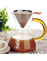 Clever Coffee Dripper Pure Over Coffee Maker Permanent Reusable Stainless Steel Coffee Filter Brewer Pyrex Glass Paperless Cone Coffee 4 Cup -Comenzar