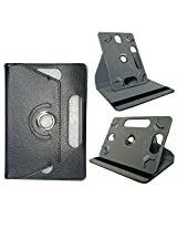 Synthetic Leather Rotating Book Cover Case cum Stand for 7 inch Tablets (Black)