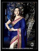 Tamanna Bhatia Blue & Cream Bollywood Replica Saree