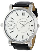 Breda Men's 1637-silv/black Aaron Oversized Dual Time Zone Watch
