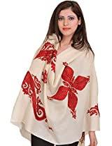 Exotic India Kashmiri Stole with Ari Embroidered Paisleys by Hand - Color Ivory And RedColor Free Size