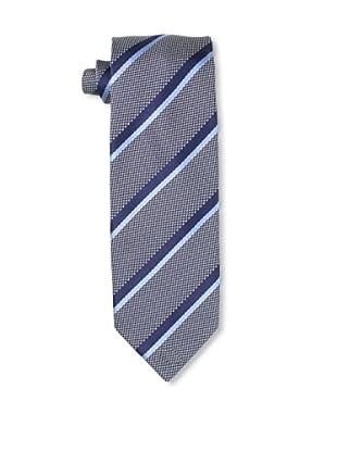 Massimo Bizzocchi Men's Striped Tie, Blue/Grey