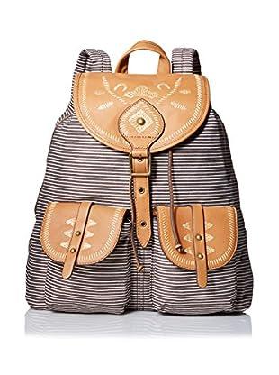 Isabella Fiore Women's El Paso Backpack, Brown Stripe