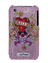 Ed Hardy iPhone 3G X Snap-On Love Kills Slowly with Crystals - Pink