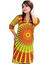 Exotic India Womens Cotton Kurta (Sto74-S-Aspen-Yellow _Aspen Yellow _Small)