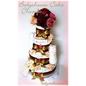 出産祝いに♪今話題のおむつケーキ「ベイビーシャワーケーキ・ショコラ」Mサイズ