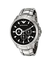 Emporio Armani Men's AR0636 Chronograph Black Dial Stainless Steel Watch