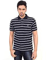 La MODE Men Black-White Striped Polo T-shirt(TS-15_LA00691W-S_Small_White)