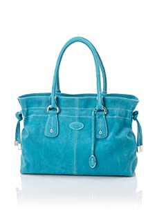Tod's Women's Small Draw-Top Satchel, Aqua