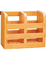 Lipper 8823 2-Compartment Bamboo Flatware Holder with Metal Clips