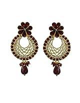 Unicorn Earring Elegant Jali with Kundan and Pearl in Zinc for Women (Maroon) - UEKMER5002R
