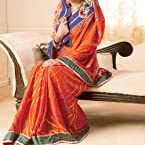 Royal orange bandhani and leheria print saree