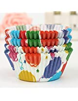 100Pcs Balloon Pattern Cupcake Paper Muffin Cup High Temperature Baking Cup(Pattern: Balloon)