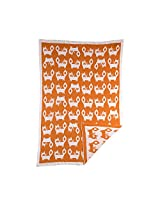 Lolli Living Mod Jacquard Knit Blanket - Fox - Ultra Soft 100% Cotton Knit Receiving Or Swaddle Blanket, Reversible Graphic Print, Lightweight And Breathable