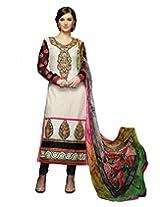 Inddus Exclusive Women Fashionable White N Black Embroidered Party Wear Salwar Kameez with Digital Print Dupatta