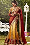 Royal yellow and red golden embroidered work party wear saree
