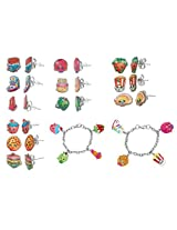 Shopkins Stainless Steel Earring Sets + Shopkins Painted Character Charm Bracelets