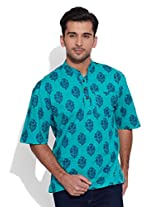 Very Me Men's Cotton Turquoise Short Kurta