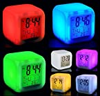 Glowing Cube LED 7 Color Changing Digital Alarm Clock - With Temperature + Day + Month + Date + Time + Alarm