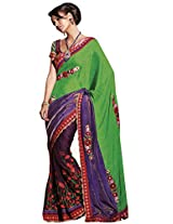 Anvi Creations Net Jequard Crepe Green Embroidered Indian Saree (Green_Free Size)