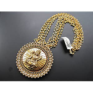 Dreamz Jewels Tradition Necklace With Laxmi Pendant In Dark Blue