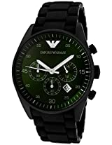 EMPORIO ARMANI AR5922 GREEN DIAL SPORTIVO BLACK MENS CHRONOGRAPH WRIST WATCH