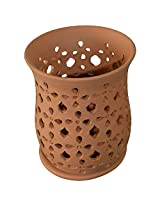 "Tejas ""Small Cup-Shaped Filigree"" Terracotta Showpiece (Size: 15 cm x 22 cm; Colour: Reddish brown)"
