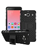 Cubix Defender Series Dual Layer Hybrid TPU + PC Kickstand Case Cover for Xiaomi Redmi 2 (Black)