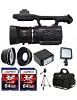 Panasonic AG-AC90 HD Camcorder + LED Light + Case + Battery + Wide Angle & Telephoto Lens + 2x 64GB Cards
