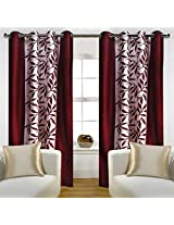 """Home Candy Eyelet Fancy Polyester 2 Piece Door Curtain Set - 84""""x48"""", Maroon (SOE-CUR-172_172)"""