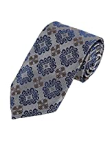 DAA7B10G Grey Blue Patterned for Best Man Gifts Tie Woven Microfiber Neckwear For Working By Dan Smith