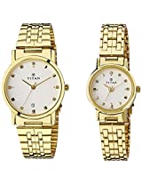 Titan Bandhan Analog White Dial Couple Unisex Watch -  NC617917YM07