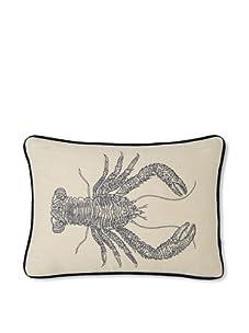 "D.L. Rhein Lobster Embroidered Linen Pillow, Taupe/Metallic, 14"" x 20"""