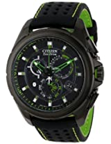 """Citizen Men's AT7035-01E """"Proximity"""" Eco-Drive Black Ion-Plated Stainless Steel Watch with Nylon-Lined Leather Strap and Green Accents"""