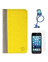 VanGoddy Mary Portfolio Self Stand Case Cover For Apple iPhone 5S / 5G (Yellow) + Long Flexible Stand + Matte Screen