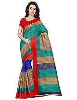 Silk Bazar Women's Tassar Silk Saree with Blouse Piece (Green & Red)