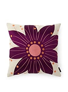 emma at home Oahu Embroidered Linen Pillow (Grape)