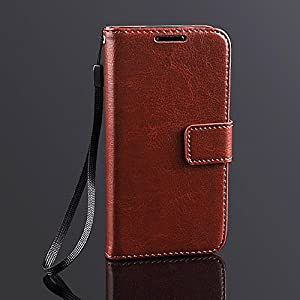 Bracevor Premium Leather Wallet Stand Case Flip Cover for Samsung Galaxy S4 mini i9190 i9192 Executive Brown